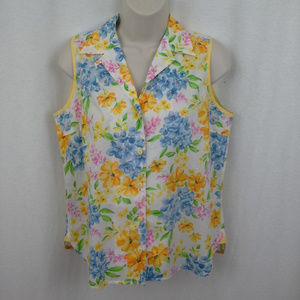 Jones New York womens top M Petite Flower garden